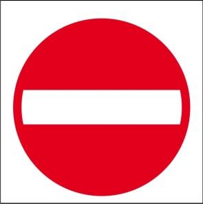 18. Rond bord; rood met witte balk.