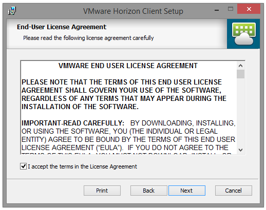 6. Klik op I accept the terms in the license agreement en