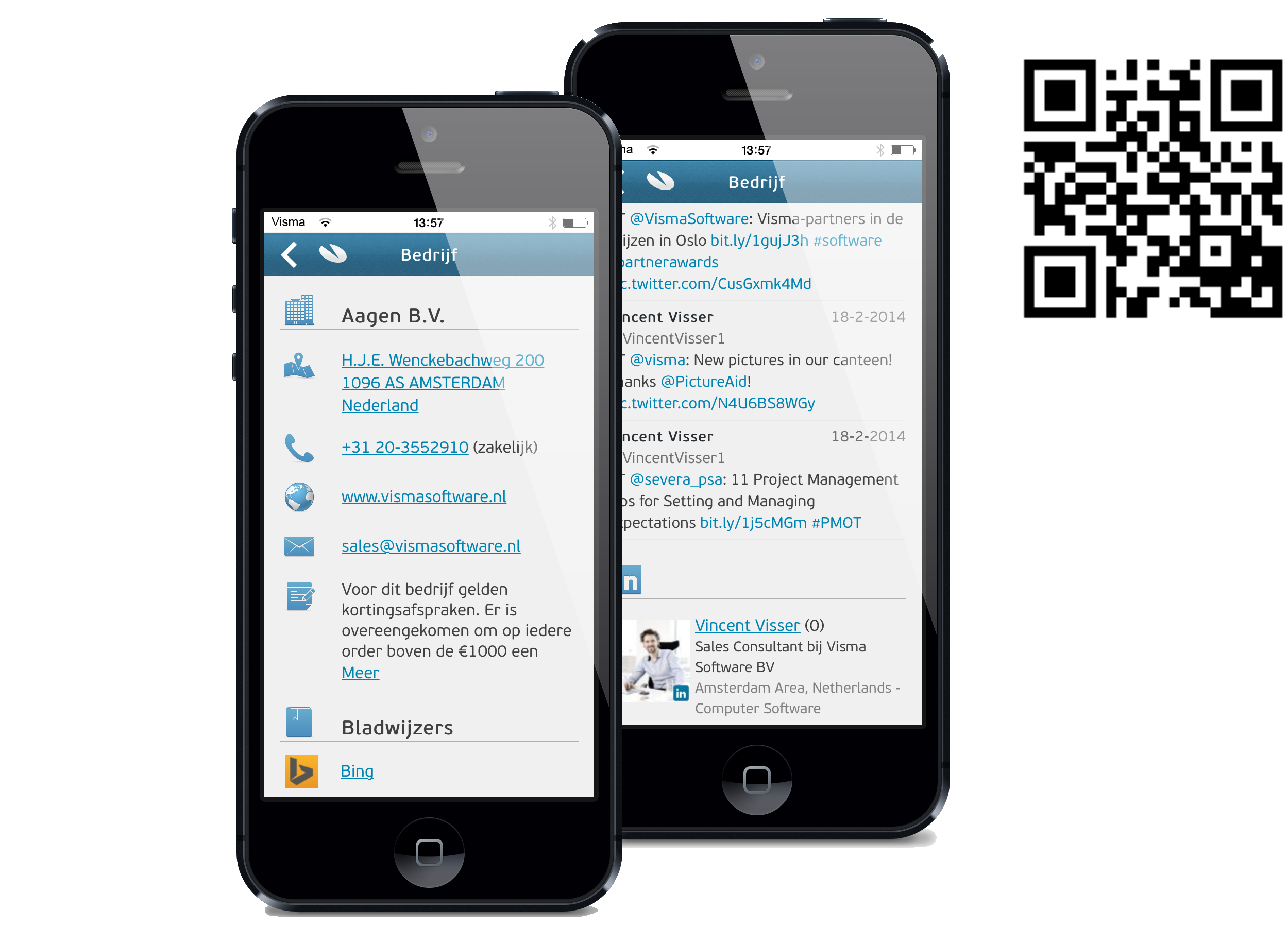 Nieuw in AccountView Go 5 Afbeelding 1.2. Scan de QR-code om AccountView Contact direct op te halen.