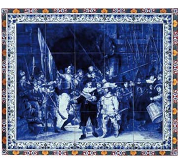 21 Traditoneel / Traditional Tegelplaat Nachtwacht gekleurde rand Tile Nightwatch with coloured border 11070000, 117x91 cm, 9x7 tegels Tegelplaat