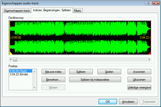 Audio-cd en audiobestanden Invoerveld International Standard Recor- ding Code (ISRC) Kopieerbeveiliging Crossfaden met vorige track Dit is een digitale code van 12 tekens ter identificatie van