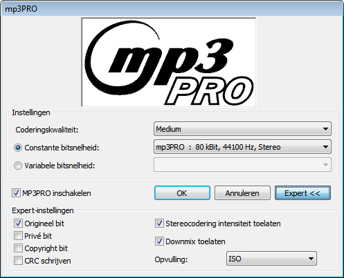 Audio-cd en audiobestanden 6.5.1.2.1 Coderingsopties voor mp3 en mp3pro Nero Burning ROM kan audiobestanden van een audio-cd coderen in de indelingen mp3 en mp3pro.