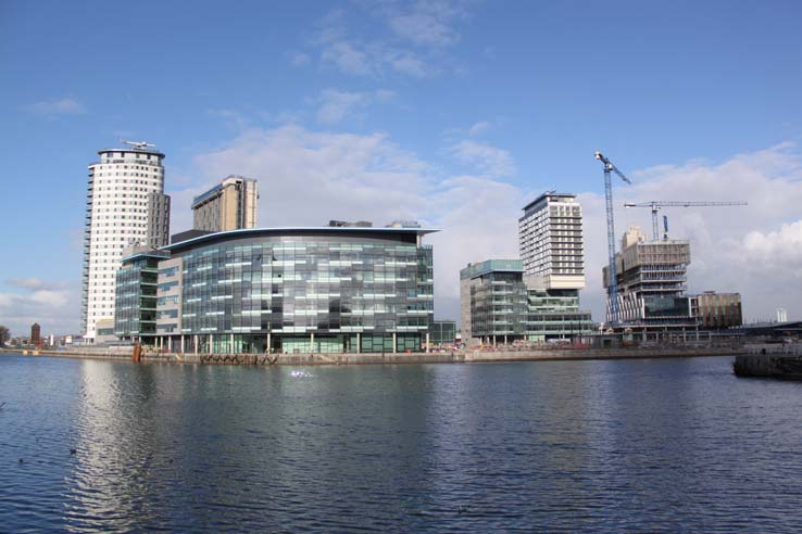 The Lowry today stands at the end of Pier 8, largely surrounded by the waters of the Manchester Ship Canal.