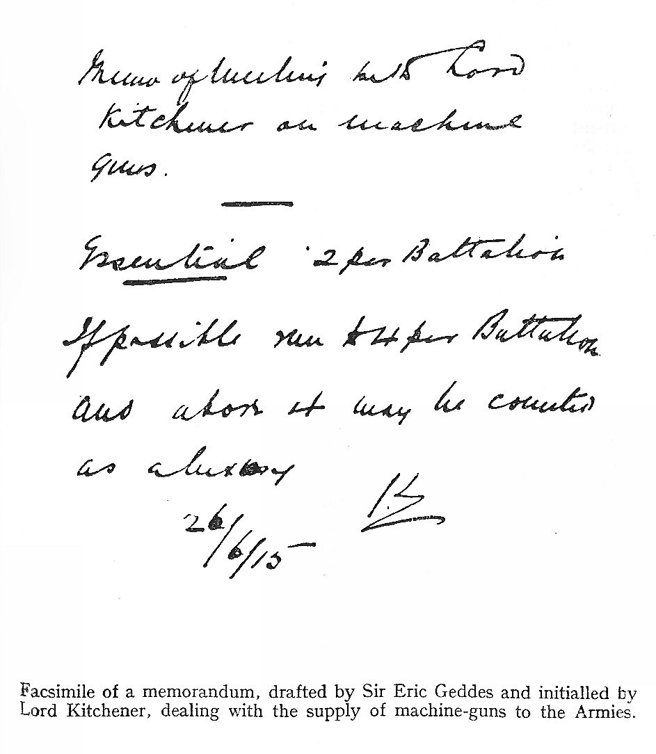 blz 46 Figuur 36 Transcriptie: Memo of meeting with Lord Kitchener on machine guns Essential 2 per Battalion If possible.