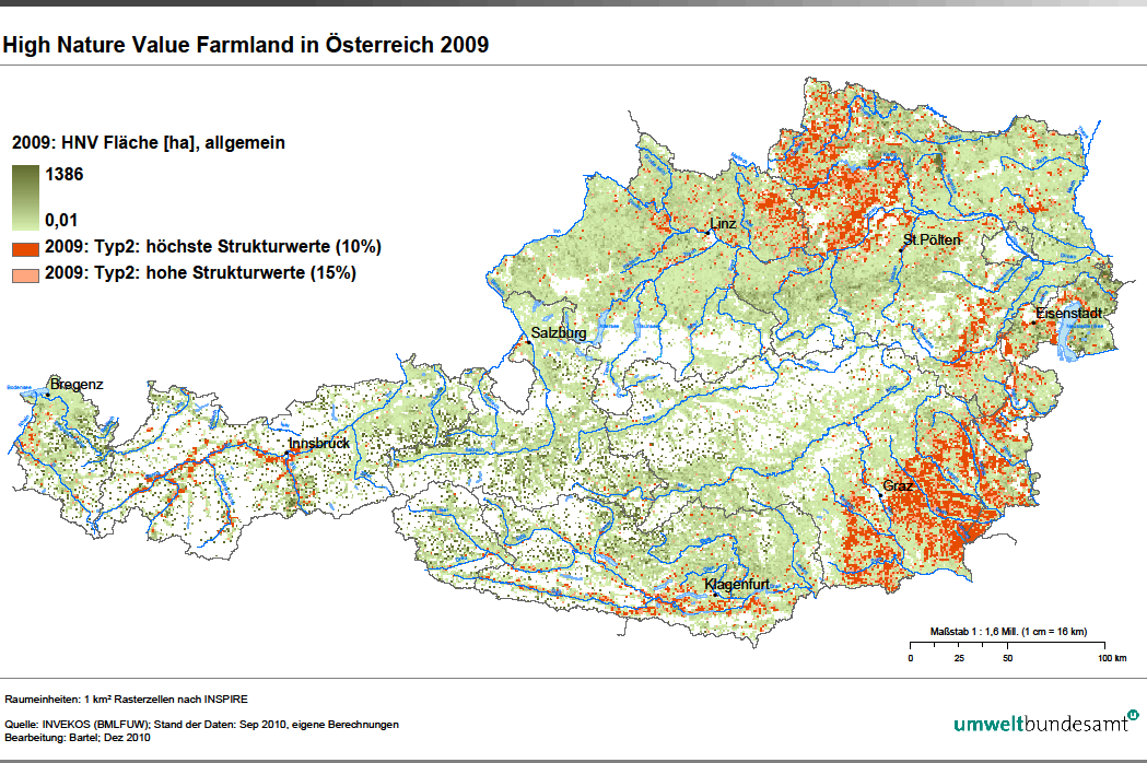 Figure 10 HNV map of Austria 2009 published by the Austrian environment agency. 4.2.3 Policy support for HNV farmland The reason for identifying HNV farmland in Austria is primarily to fulfil the reporting obligations to the EC.