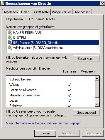 Figuur 39: NTFS security settings De security stellen we in aan de hand van onze security group en een ACL.