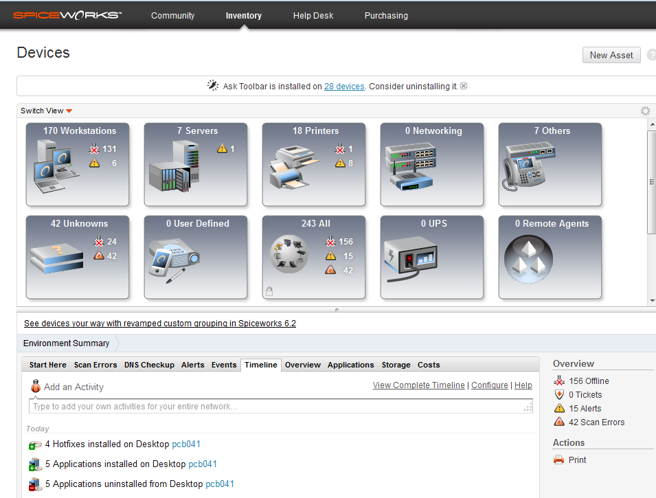 Spiceworks Figuur 119: Spiceworks devices In deze interface kan je browsen door alle apparaten en informatie opvragen.