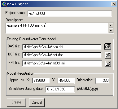 Fig. 5. New Project dialog box. Nadat op de Create button is geklikt wordt het MODFLOW model naar een GT-MODEL project geconverteerd.