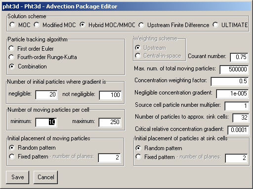 Fig. 24. Advection Package Editor dialog box. 6.4 Dispersion Package (DSP) In de DSP Package worden dispersie parameters gedefinieerd: longitudinaal per gridcel, vertikaal en transversaal per laag.