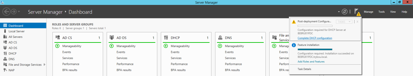 4.1.3 Installatie DHCP Na de installatie installeren we DHCP via de roles and features in de server manager. We selecteren DHCP server en installeren de service.
