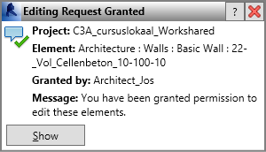 C3A-Workshop 7 jan. 2014 C3A Revit-Worksharing blad 17 Can't edit the element until 'Architect_Jos' resaves the element to central and relinquishes it and you Reload Latest.