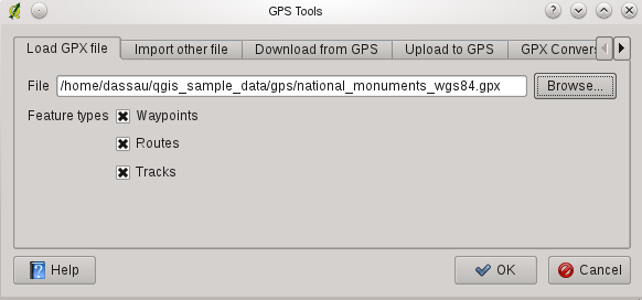 Figuur 15.1: The GPS Tools dialog window file uses WGS84 (latitude/longitude). QGIS expects this and it is the official GPX specification. See http://www.topografix.com/gpx/1/1/ 15.1.3 GPSBabel Since QGIS uses GPX files you need a way to convert other GPS file formats to GPX.