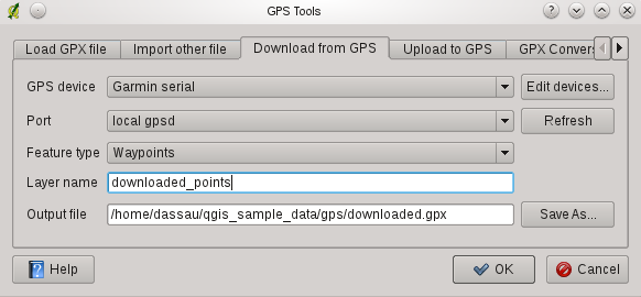 Figuur 15.2: The download tool 15.1.6 Uploading GPS data to a device You can also upload data directly from a vector layer in QGIS to a GPS device using the Upload to GPS tab of the GPS Tools dialog.