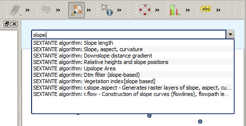 Figuur 17.31: The SEXTANTE Commander SEXTANTE algorithms. They are shown as SEXTANTE algorithm: <name of the algorithm>. Menu items. They are shown as Menu item: <menu entry text>.