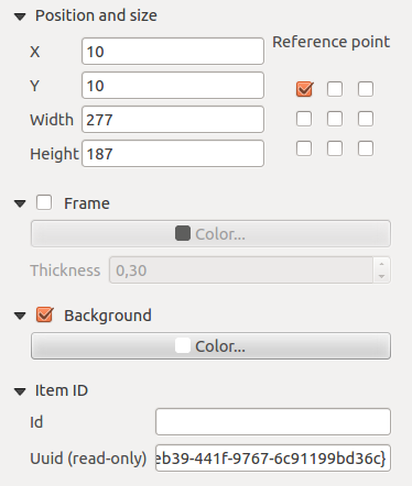Figuur 18.2: Common Item properties Dialogs 18.2 Rendering mode QGIS now allows advanced rendering for composer items just like vector and raster layers. Figuur 18.