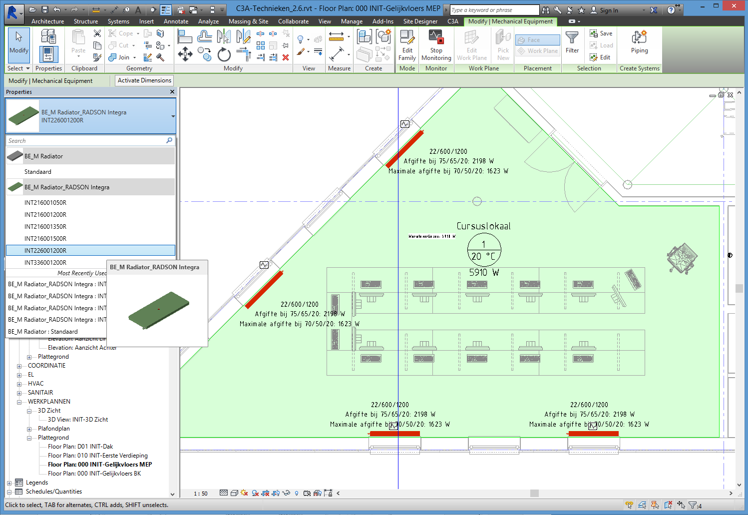 blad 30 REVIT Multidiciplinair Samenwerken C3A-Witas Workshop 18 mrt 2015 g. Om een ander type radiator in het Project te laden kunnen we browsen naar de Families in de Project Browser.