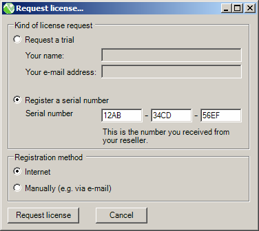 EPO Elements Businessbewaking 23 van 66 - Selecteer Request trial in het scherm License reminder : Of - selecteer in het hoofdmenu Help het submenu Manage licenses en daarna Request license De