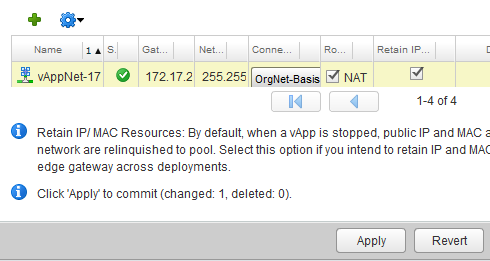 vcloud Networking Inter vapp routing Static Routes
