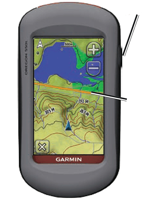 Power: aanzetten gps Bediening Garmin Oregon en Dakota De Oregon en Dakota hebben een touch screen. De gps gaat aan door op de aan-uitknop te drukken.