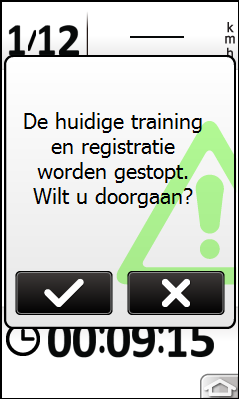 Volgende sectie doeltrainingzone 9 seconden verwijderd van de volgende sectie Huidige hartslag Heart rate is faster than your target zone, please speed up (Hartslag is lager dan de doelzone, verhoog