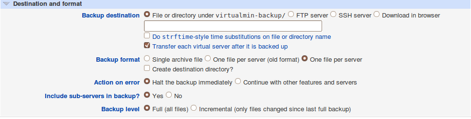Als u in Backup destination kiest voor File or directory under, dan moet u Transfer each virtual server after it is backed up afvinken.
