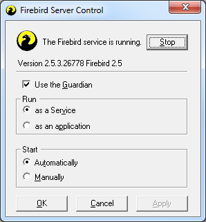Op de server zijn nu de volgende services actief: Firebird Guardian Default Instance Firebird Server Default Instance In het configuratiescherm is een FireBird
