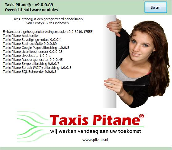 Helpdesk Over Taxis Pitane De softwareversies van de Taxis Pitane modules.