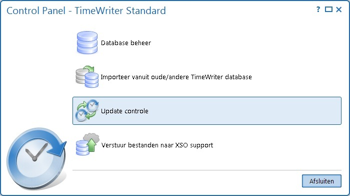 TimeWriter Standard Applicatie en database beheren (ControlPanelStd) Gebruik het programma \control\controlpanelstd om de TimeWriter applicatie en database te beheren.