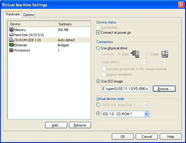 3. Koppel iso vmware aan cdrom (edit virtual machine settings) 4.