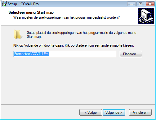 8 Selecteer menu Start map Kies de menu Start map waar COV4U