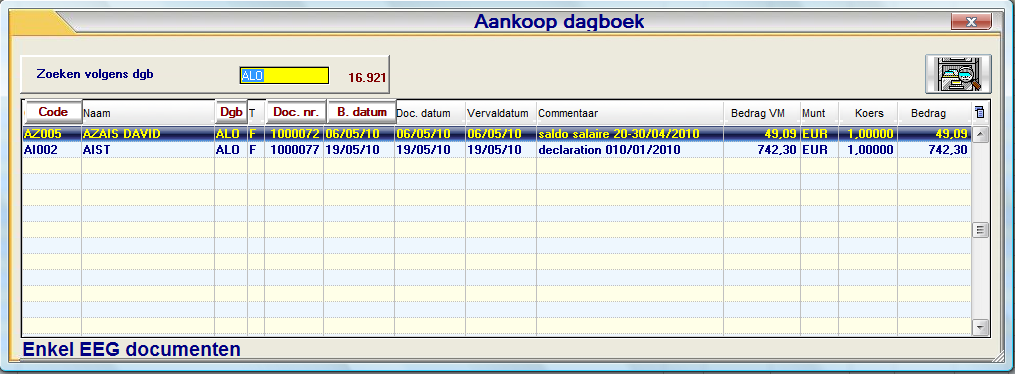 Beheer documenten Intrastat (P3170) A Documentgegevens (ID) Type (Aankoop of Verkoop) Is het een aankoop of verkoop document Type (Factuur of Creditnota) Is het document een factuur of een creditnota
