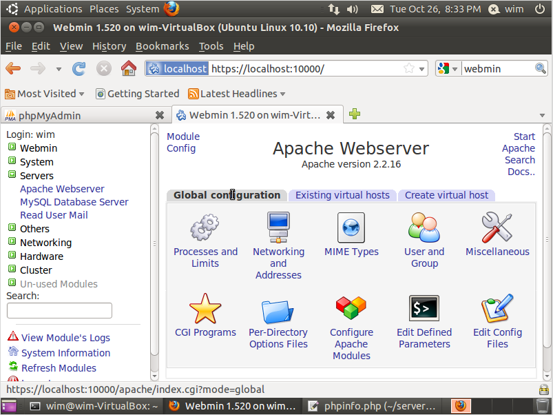 Figuur 46: Ga naar servers -> apache webserver en klik op Global Configuration