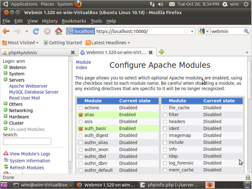 Figuur 47: Klik op configure apache modules en scroll tot je rewrite ziet