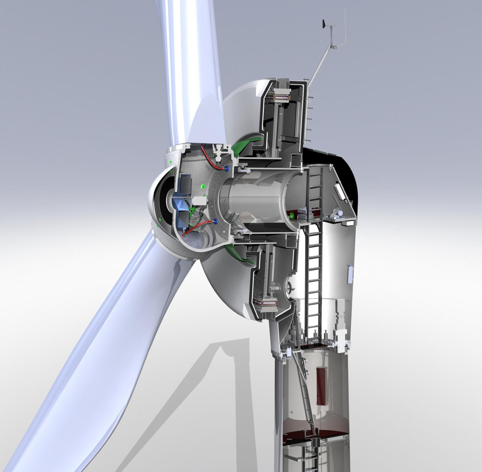 Category: Specification Revision: 02 Title: DIRECTWIND 52/54*900 Technical Specification Page 11 / 11 Doc code: S-1000920 APPENDIX 1: 3D image of main turbine components Copyright Emergya Wind