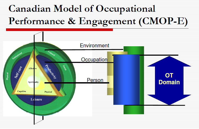 MODELLEN BEHORENDE BIJ HET CPPF Het CPPF is afgeleid van het Canadian Model of Occupational Performance and Engagement (CMOP-E) en het Canadian Model of Client-Centred Enablement (CMCE).