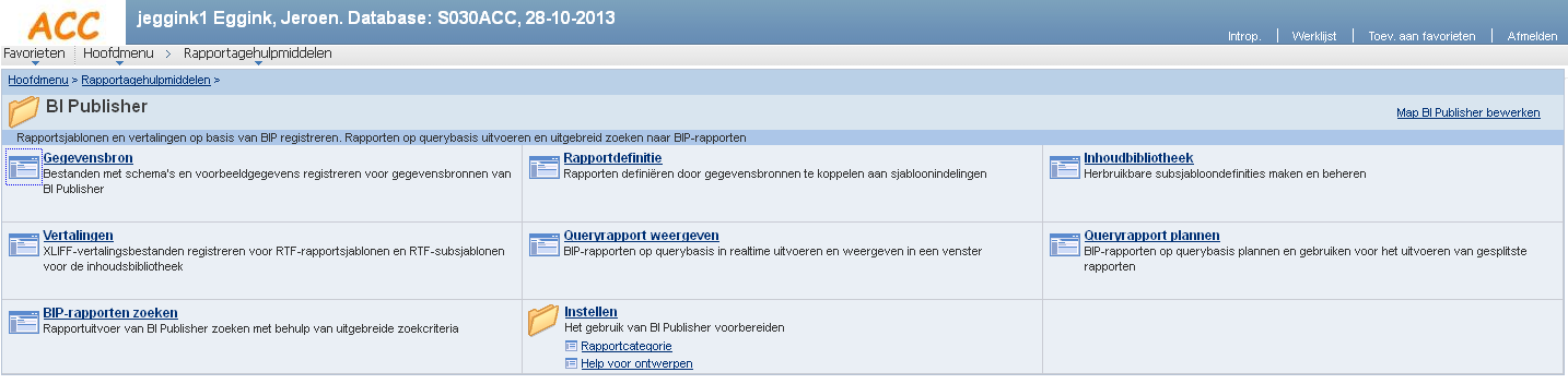 Query/Rapportage PRD Wijziging menu: