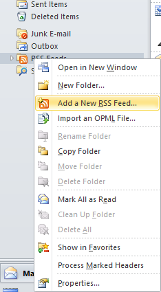 RSS-feed in Outlook als feedreader Het is ook mogelijk om RSS-feeds in Outlook te lezen. Startpagina voor RSS Feeds in Outlook.