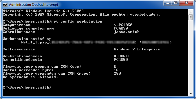 "Basisbediening 2 Typ in het Opdrachtprompt-venster ""net config workstation"" in en"