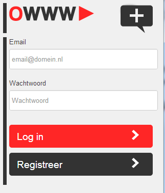 9.3 Registering an account In order to use the OWWW-app, you have to register an account first.