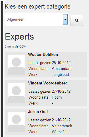 (Here, you can see the experts currently listed.