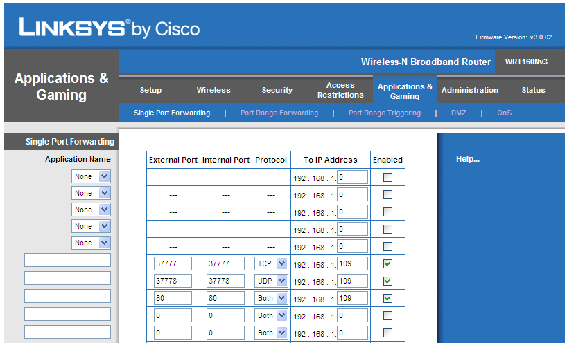 Lynksys by Cisco WRT160Nv3 Firmware version: v3.0.02 IP standaard: 192.