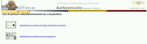 Kies uw authentificatiewijze (elektronische identiteitskaart volstaat) en doorloop de authentificatie-procedure.