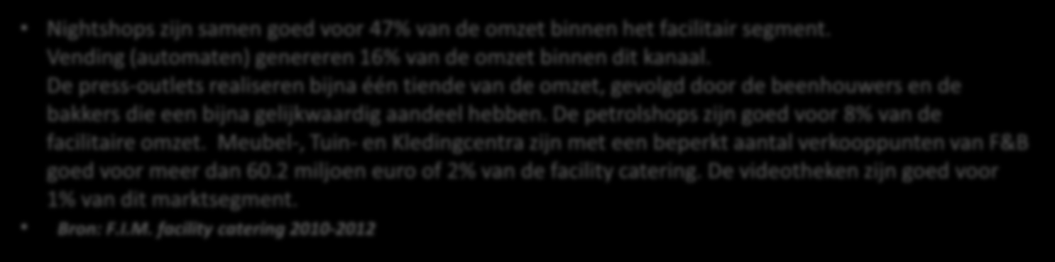 1. De facilitaire catering: situatieschets Facility catering 3,2 mia Retail 55 % 21.5 mia Out-of- Home 45% 17.2 mia Nightshops zijn samen goed voor 47% van de omzet binnen het facilitair segment.