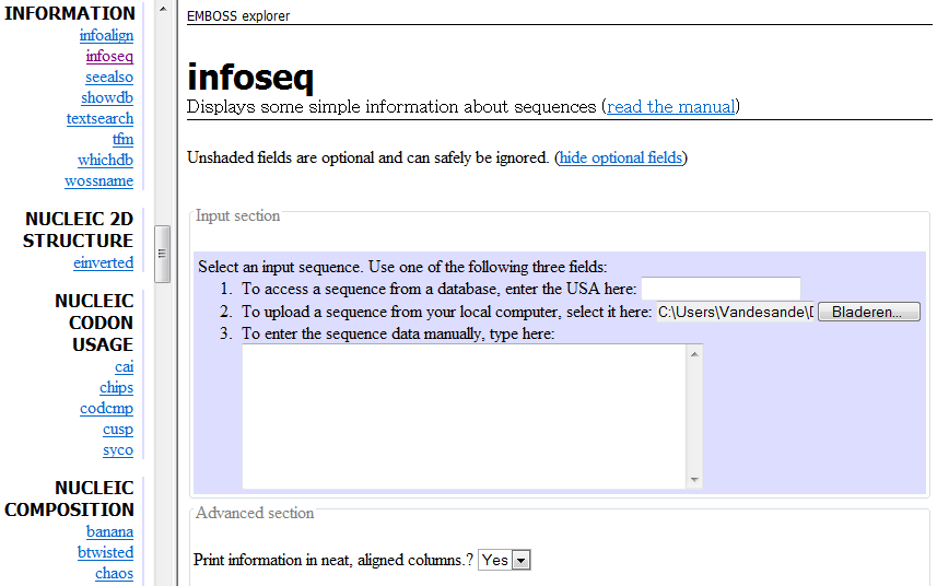 EMBOSS Web Interface Information:
