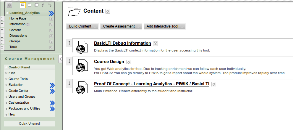 As an Instructor you can add a link for a BasicLTI Provider In Blackboard, within a specific course an instructor will need to create a custom content link.