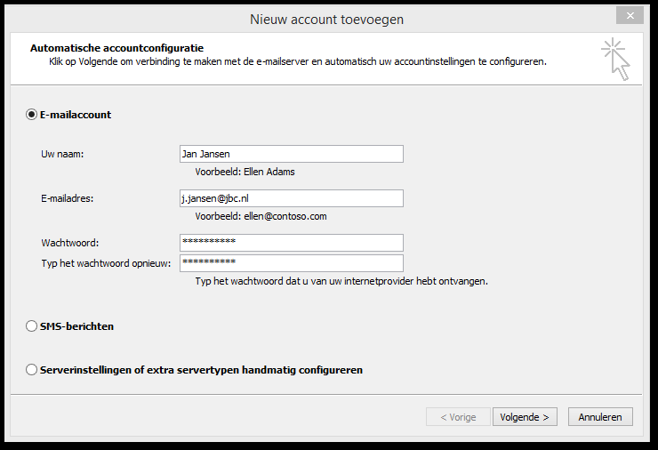 6. Een JBC Exchange-mail verbinding instellen in Outlook 2010 of Outlook 2013 1.