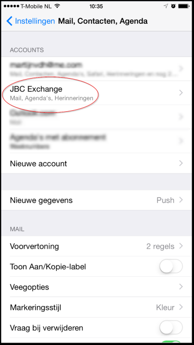 2. Oude JBC Exchange-mail account verwijderen op een Apple iphone of ipad. 1.