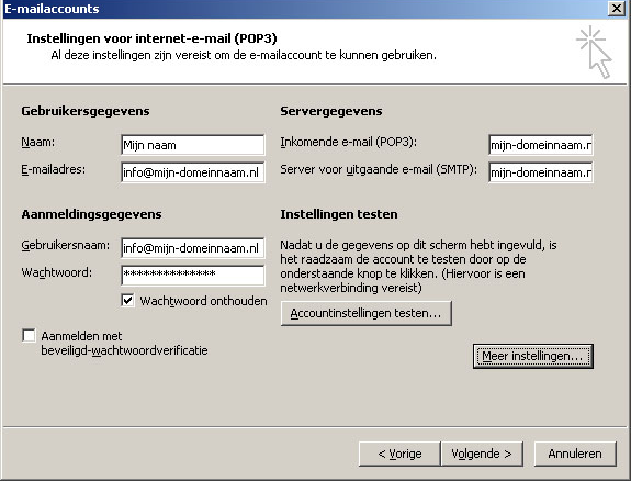 Instellen met Microsoft Outlook 2003 (1/3) 1 2 U start Microsoft Outlook op via: Start - Programma s - Microsoft Office - Microsoft Outlook (varianten mogelijk) Kies in het menu van Microsoft Outlook