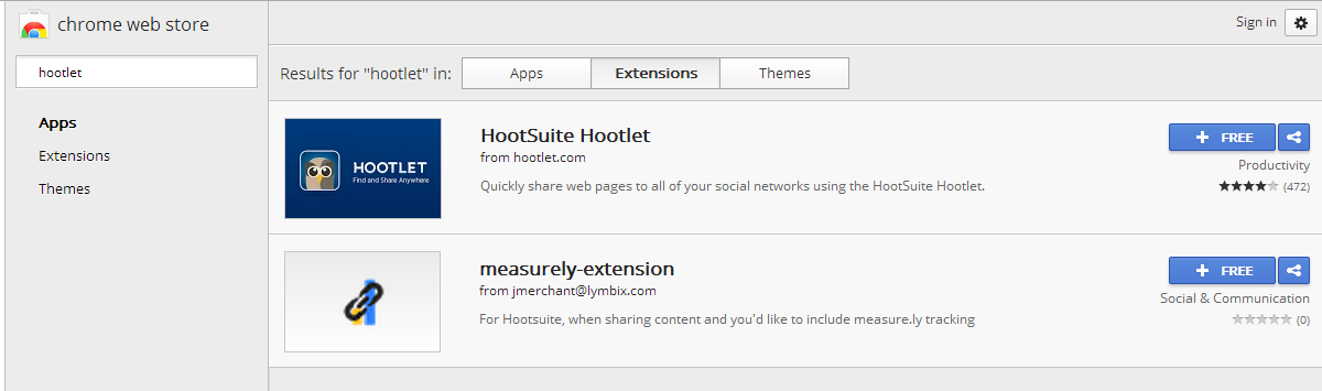 18 Hootlet - Chrome extention Er is ook een Chrome extentie, genaamd Hootlet.