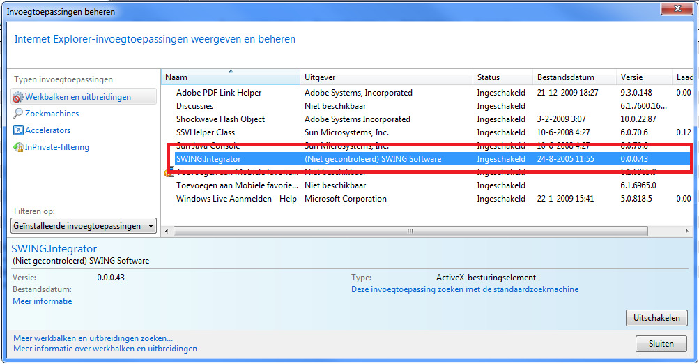 3. Swing Integrator 4 ActiveX Swing Integrator 4 verzorgt de communicatie tussen Track Verzuim en de Microsoft Office omgeving.